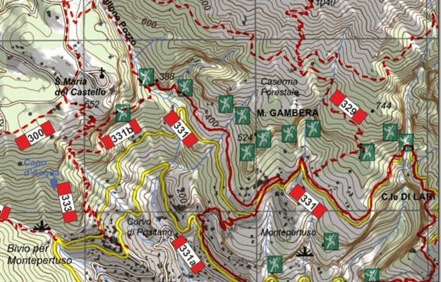 Carta dei sentieri dei Monti Lattari